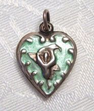 Vintage Sterling Silver and  Aqua  Enamel Calla Lily Flower Puffy Heart Charm