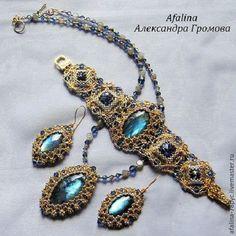 "Complete sets van handgemaakte sieraden.  Stel ""Nessun Dorma"".  Afalina - Alexander Gromov.  Fair Masters.  Pearl Blue"