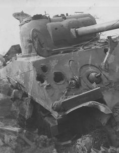 U.S. Gen Sherman Tank pounded to death by German A/T guns!