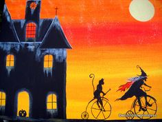 "OOAK Original Halloween folk art ""The Witches Apprentice"" witch black cat on bikes primitive pagan HA31 free shipping etsy. $35.00, via Etsy."