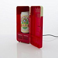 Mini USB-Powered Fridge Cooler for Beverage Drink Cans in Cubicle and Home office (Red)