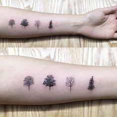 season  봄 여름 가을 겨울  #treetattoo #seasontattoo # blacktattoo #minitattoo…