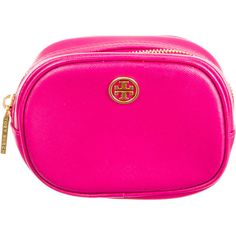 Pre-owned Tory Burch Cosmetic Bag found on Polyvore featuring beauty products, beauty accessories, bags & cases, pink, make up purse, pink makeup bag, toiletry kits, cosmetic purse and wash bag