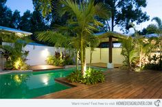 Beautiful Swimming Pool Landscaping With Trees Summit HouseSummit House Swimming Pool Decks, Swimming Pool Landscaping, Swimming Pool Designs, Backyard Landscaping, Landscaping Design, Backyard Patio, Wood Pool Deck, Wood Patio, Wood Decks