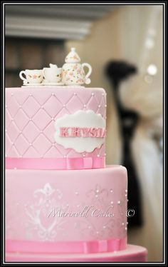 Tea Party Baby Shower themed Cake