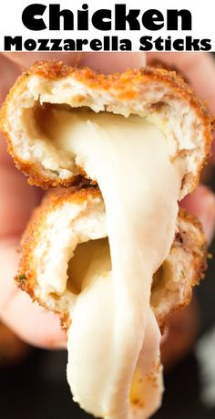 This tasty, cheesy appetizer is a cross between chicken fries and mozzarella sticks. They're so delicious! Cheese sticks covered in breaded ground chicken then deep-fried to gooey cheesy perfection. #appetizers #deepfried #cheese Mozzarella Sticks, Mozzarella Chicken, Ground Chicken Recipes, Fried Chicken Recipes, Recipe Chicken, Cauliflower Recipes, Easy Appetizer Recipes, Appetizers, Fries Recipe