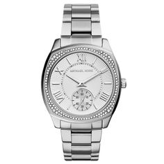 Michael Kors Bryn Silver-Tone Steel Square Case Ladies Crystal Set Watch From Berry's Jewellers