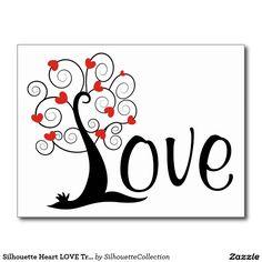 Silhouette Heart LOVE Tree Postcard