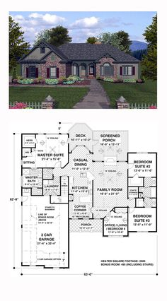 "Craftsman House Plan 74805 | Total Living Area: 2000 sq. ft., 4 bedrooms and 2.5 bathrooms. The Old World style siding and stone exterior is accented with a ""Palladian"" window, multi-level trim and an inviting front porch. A flexible office/living/4th bedroom, an exquisite master suite, a 3-car garage with a utility sink, and a large screened porch are sure to make this home irresistible. #craftsmanhome"