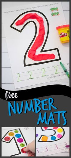 FREE Number Mats - these free printable number worksheets are great for helping toddler, preschool, and kindergarten age kids with forming numbers using playdough, stickers, buttons, lego, and other fun manipulatives and then practice writing numbers 1-10. Perfect for summer learning, home preschool, and centers