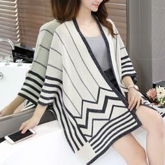 New Product Spring Autumn Striped Knitted Women Shawl Sweaters 2016 Fashion Three Quater Sleeve Outwear Batwing Sleeve Cardigans