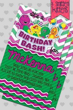 Barney and Friends birthday party invitations by 3SmittenKittens, $12.00