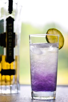 Stormy Morning cocktail -- a blend of Creme de Violet and St. Germain, two of my favorite libations ever.
