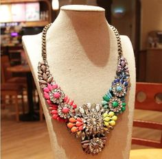 Unique and stunning statement piece made of rainbow crystals and rhinestones. A must have stand out item. Also available in pink and clear stones *Limited edition special offer £40*