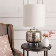Rustic Fahua Table Lamp with Pewter Finish Glass Base (Beige-TBL), Grey