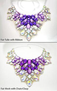 Jeweled Purple Rhinestone Bib Necklace Mega by SparkleBeastDesign