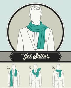A scarf knot for The Jet Setter See also: Scarf knots for The Weekender, The Connoisseur, The Ivy Leaguer, The Sophisticate & The City Slicker.
