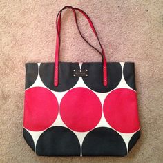 Kate Spade Deborah Dot Bon Shopper EUC - some wear on the corners, a bit of minor discoloration at the top of the purse and a small stain inside (which would probably come out easily) kate spade Bags Totes