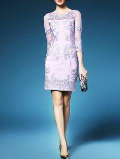 Shop Mini Dresses - Purple Sheath Pierced 3/4 Sleeve Mesh Mini Dress online. Discover unique designers fashion at StyleWe.com.