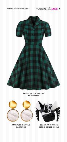 Get this #VintageInspired look at Atomic Jane Clothing! Atomic #Retro Green Tartan Midi #Dress · Atomic Marbled Dangle #Earrings · Black and White Retro Boned #Heels Only Fashion, Fashion Beauty, Girl Fashion, Womens Fashion, Rockabilly Style, Rockabilly Fashion, Jane Clothing, Cold Weather Outfits, Swing Skirt