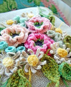 crocheting, flowers
