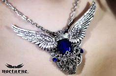 Gothic Necklace with Angel Wings by NocturneHandcrafts