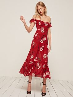 Red Tropica Dress- Reformation. So cute for Spring! Love the off the shoulder and ruffle detail.