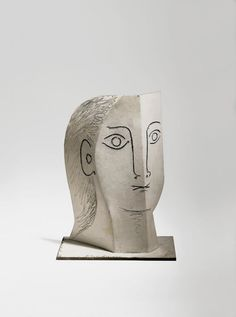 Picasso - Tête de femme, Head of a Woman. Painted sheet metal, cut out, folded, and incised.
