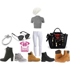TIMBS IS THIS SIMPLE by bruceneriet on Polyvore featuring Miss Selfridge, ONLY, Timberland, Moschino, Michael Kors, Abercrombie & Fitch, Forever New and Versace