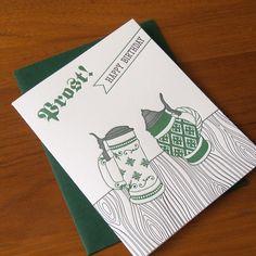Birthday Steins Letterpress Card. $4.50, via Etsy.