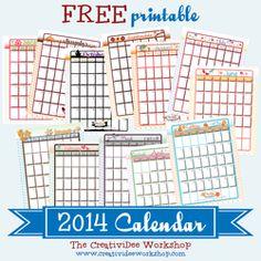 Free printable calenders, blank menu planners, daily planner, etc. -rr