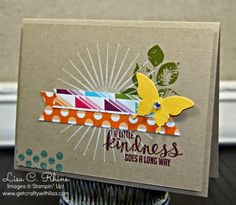 Get Crafty with Lisa:  A Little Kindness.  This A Little Kindness Card features Stampin' Up!'s Kinda Eclectic Stamp Set and Sweet Taffy Designer Series Paper, by Lisa Rhine, www.getcraftywithlisa.com