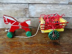 Vintage Brio Sweden Horse and Cart Toy 1950 by HighPointFarm2010