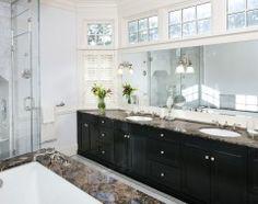 White garden tub with Blue Sapphire granite!