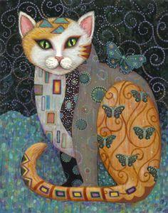 It reminds me of Gustave Klimt Gustav Klimt, Illustrations, Illustration Art, Subject Of Art, Frida Art, Chicago Art, Cat Quilt, Arte Popular, Cat Colors