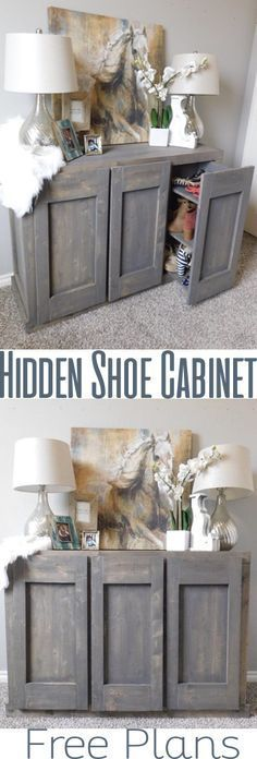 DIY Shoe Cabinet - Hidden Storage - Woodworking plans.