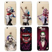 For iPhone 7 7Plus 6 6S 6Plus 5 5S SAMSUNG Suicide Squad Harley Quinn Jared Leto Joker Comics Movie Soft Phone Case Coque Fundas(China (Mainland))