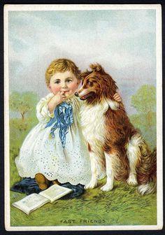 VICTORIAN GIRL and Her COLLIE DOG 1880s - Piano Organ Trade Card ELGIN ILLINOIS #SeyboldsPianosandOrgans