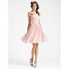 A-line V-neck Sleeveless Knee-length Chiffon Bridesmaid Dress – USD $ 69.99