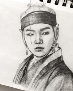 Yoongi with long hair, dressed in Feudal Korea robes, while DROPPING BARS, is something I did not know I needed in my life . Kpop Drawings, Cool Art Drawings, Art Drawings Sketches, Realistic Drawings, Arte Van Gogh, Eagle Art, Bullet Journal Art, Bts Chibi, Korean Art