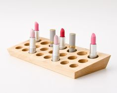 Lipstick Holder Lipstick Organizer Wood Makeup Organizer Countertop Lipstick Storage EMMA. $86.00, via Etsy.