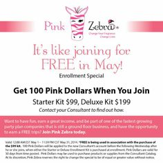 This month's special when you join my Pink Zebra team! $100 Pink Dollars.. WOW! Join purchasing the standard kit & it's like joining for FREE! This is an AWESOME OFFER!! Don't delay find out more and join my team today. Please message me or call me with questions or you can visit my site at www.pinkzebrahome.com/heidikulp I'd love to have you as a team member!