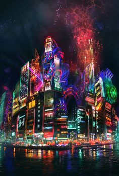 Lights and artwork in the city of Tokyo, Japan at night Cyberpunk City, Futuristic City, Fantasy Anime, Japon Tokyo, Neo Tokyo, Shinjuku Tokyo, Tokyo Night, Thinking Day, Night City