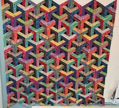 """Doodlebugs and Rosebuds Quilts: """"Escher"""" Scrappy Quilt Patterns, Jellyroll Quilts, 3d Quilts, Scrappy Quilts, Blue Quilts, Quilting Ideas, Quilting Projects, Karen O'neil, Optical Illusion Quilts"""
