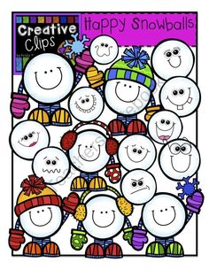 Happy Snowballs Creative Clips Digital Clipart from Creative Clips Clipart on TeachersNotebook.com - This 20-piece set is packed with fun, goofy and happy snowballs! Included are 17 vibrant, colored images and 3 black and white versions of the snowballs with legs and hands(not shown in the preview).