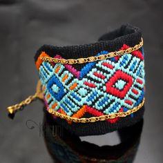 Bracelet Brésilien Fantaisie Manchette Bijoux Ethniques  Tissé Bleu Turquoise