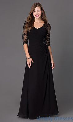 Dresses, Formal, Prom Dresses, Evening Wear: Floor Length Ruched Dress 7210 with Lace 3/4 Length Sleeves