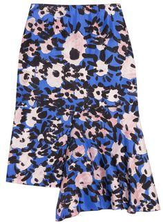Jupe en sergé de soie drapée bleu a fleur blanche et noir Marni
