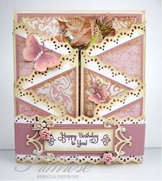 cascading gatefold closed...feminine and frilly...pinks, mauves and ivory..