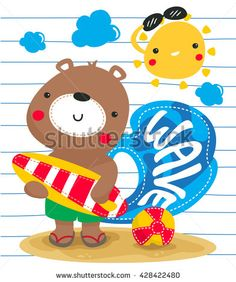 Cartoon cute happy teddy bear holding surfboard on the beach, on lined paper background illustration vector. - stock vector